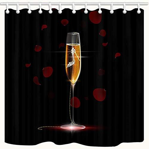 Girly Decor Duschvorhang, Champagner & High Heels Anhänger, Badvorhänge aus Polyestergewebe mit