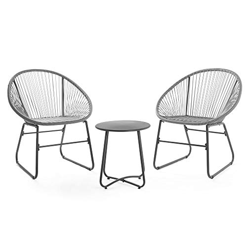VonHaus Rattan Bistro Set – Rope Style Wicker Chairs with Table – Weatherproof – Braided Acapulco Woven Outdoor Garden Furniture for Patio, Decking, Balcony, Conservatory - Grey
