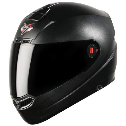 Steelbird SBA-1 7Wings HF Dashing Full Face Helmet with Smoke Visor and Detachable Handsfree Device (Regular Fit Medium 580 MM, Dashing Black with Smoke Visor)