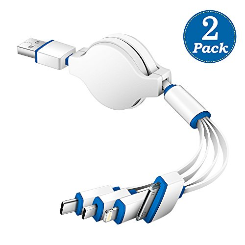 KINGBACK (2 Pack) Multi USB Charger Cable, Retractable 4 in 1 Universal Multiple USB Cable Adapter Connector with Type C/Micro USB Port for Cell Phones Tablets and More (Charging Only)