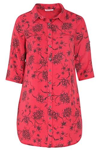 PAPRIKA Damen große Größen Mit Blumen bedrucktes Tunika-Kleid Hemdkragen 3/4 Ärmel