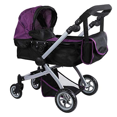 Mommy & Me Babyboo Deluxe Doll Pram Color Purple & Black with Swiveling Wheels & Adjustable Handle & Free Carriage Bag - 9651B PRP