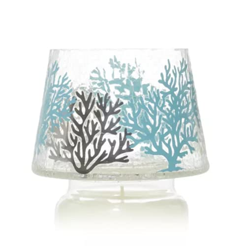 New Yankee Candle Crackle Coastal Jar Candle Shade Topper Ocean Coral Pattern