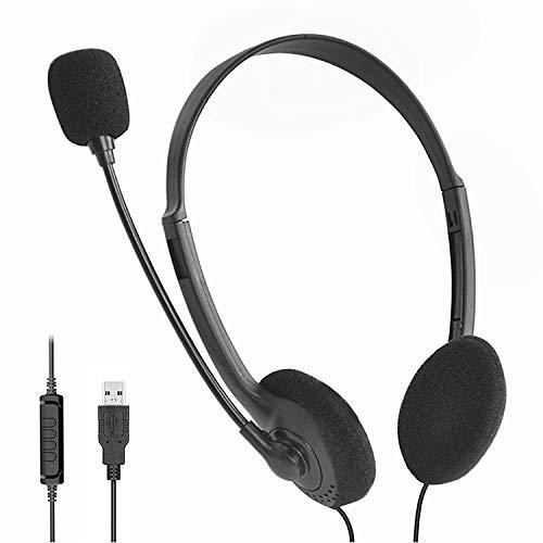 USB Headset, Lorryhaus Headset PC mit Mikrofon Stereo kabelgebunden, leicht, verstellbar, Flexibler Mikro Arm, Lautstärkeregler für Computer Notebook Laptop Gaming Büro Home Office