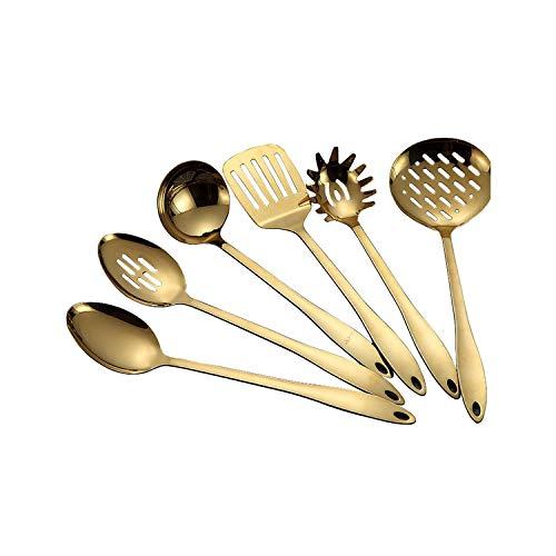 1PC Titanium Gold Edelstahl Küchenartikel Kochlöffel Schaufel Kochgeschirr Küchen Werkzeuge Spachtel und Kelle Küchenutensilien, Weiße Fliege, Gold Farbe