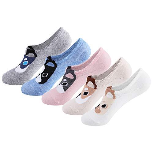 CNNIK 5 Pares Calcetines Tobilleros de Algodón para Mujer, Calcetines Invisibles con Silicona Antideslizante, Patrón de Dibujos Animados, para Deportes Aptitud Física Corriendo (Animal Perro)