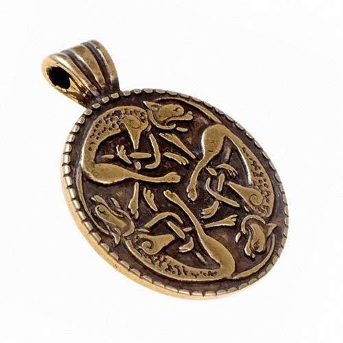 Die Wilde Jagd - ein keltisches Schmuck-Amulett mit dem historischen Kelten-Motiv sich jagender Hunde Farbe messingfarben