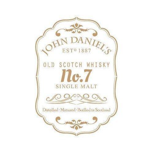 TODO-STENCIL Schablone Deko Vintage Gestaltung 205 John Daniels Etikett Größe Schablone: 20 x 30 cm, Design Größe 17,8 x 25,8 cm.