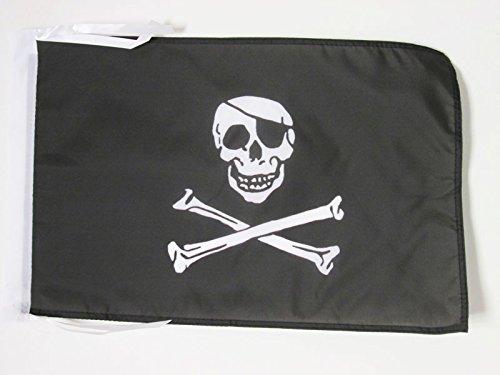 AZ FLAG Bandiera Pirata Teschio 45x30cm - BANDIERINA dei Pirati 30 x 45 cm cordicelle