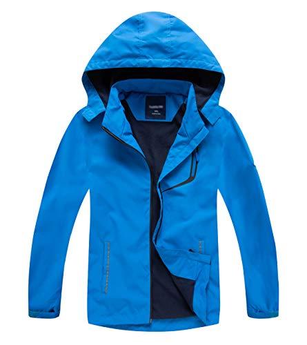 YoungSoul Kinder wasserdichte Regenjacke mit Abnehmbarer Kapuze Mädchen Jungen Übergangsjacke Gefütterte Outdoorjacke Blue DE: 146-152 (Herstellergröße 150)