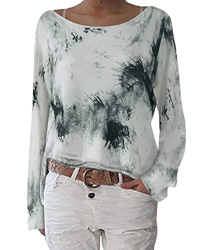 ZANZEA Blusa Floral para Mujer Sexy Casual Otoño Cuello Redondo Suelto Manga Larga Tops Jersey Jumper Túnica Camiseta W-Flores 8 XXL