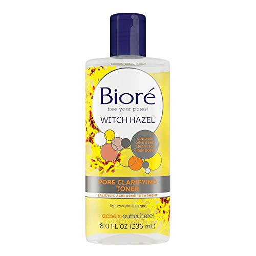 Bioré Witch Hazel Pore clarifying Toner, 8.0 Oz, With 2% Salicylic Acid for Acne Clearing & Balanced Skin Purification