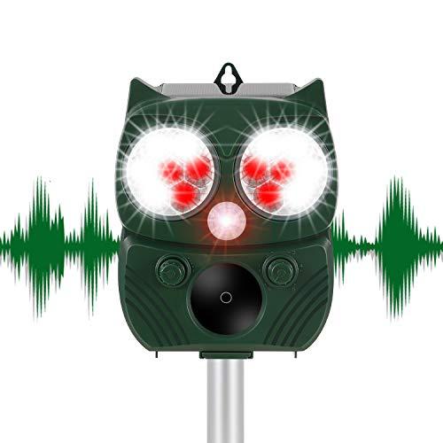 Winload Repelente Solar para Gatos, Ultrasónico Repelente de Animales, Ahuyentador de Perros Impermeable, con Sensor PIR, Repelente de Gatos y Perros para Exterior Jardinería, 5 Modos Ajustables