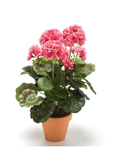 Artplants Set 8 x Geranio Artificial MASALIA en Maceta de Terracota, Rosa, 35cm - Geranio de plástico/Flor Falsa