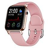 COULAX Smartwatch, Fitness Armbanduhr mit 1.4 Zoll Touch Farbdisplay, Fitness Tracker Sportuhr mit Pulsmesser Schlafmonitor Musiksteuerung Schrittzähler Stoppuhr für Damen Herren (Rosa)