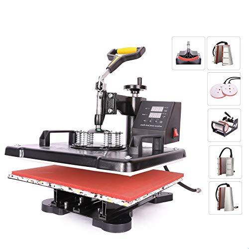 Sfeomi Heat Press 30 x 38cm Multifunction 8-in-1 Heat Press Machine 360 Degree Swivel Sublimation Transfer Printer for T-Shirt Mug Hat Cap Plate