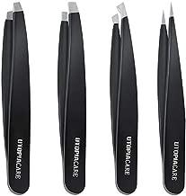 Professional Stainless Steel Tweezers Set (4-Piece) – Precision Tweezers for Ingrown Hair, Facial Hair, Splinter, Blackhead and Tick Remover