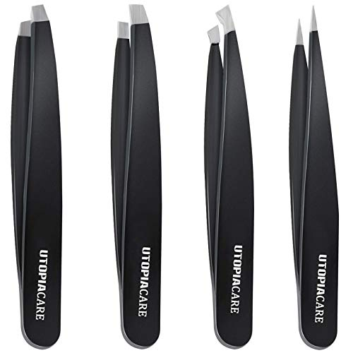 Professional Stainless Steel Tweezers Set (4-Piece) – Precision Tweezers for Ingrown Hair, Facial Hair, Splinter, Blackhead and Tick Remover