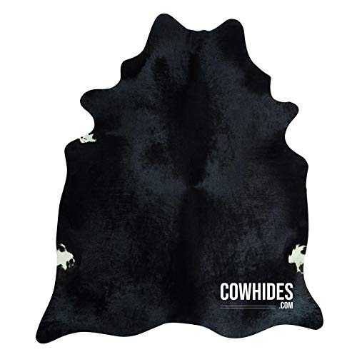 Natural Cowhide Area Rugs Solid Black (Large - 6.5 FT x 7.5 FT)