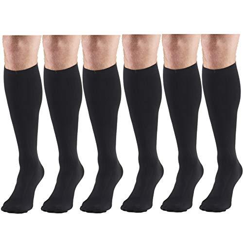 Compression Socks, 15-20 mmHg, Men's Dress Socks, Knee High Over Calf Length Black Medium (6 Pairs)
