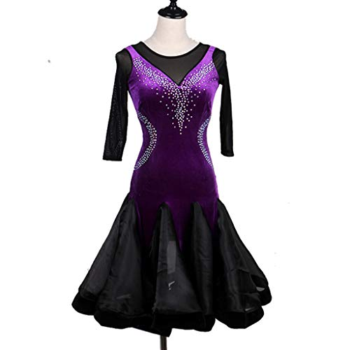 Vestido De Competicin Lrica De Baile Latino Para Damas Big Swing Profesional De Manga Media Disfraz De Rendimiento Latino Vestido De Tango De Rumba (Color : Purple, Size : XL)