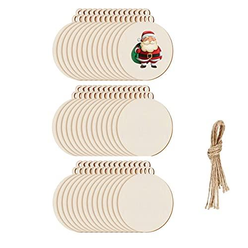 DARENYI 100 bolas de Navidad de madera para manualidades de madera natural adornos de madera sin terminar en blanco formas de madera adornos con cuerda para decoración del árbol de Navidad