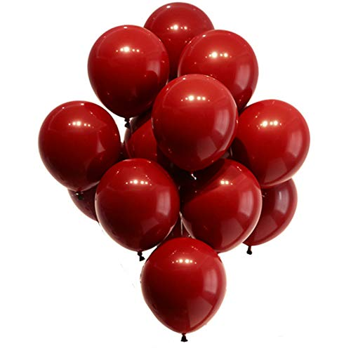 Nuluxi Globo Redondo Rojo de Látex Natural Globos de Helio de Látex Rojo Set Globos Gigantes Grandes de Latex Redondos Adecuado para Boda Halloween Navideñas y Cumpleaños-Granada Roja(100 Piezas)