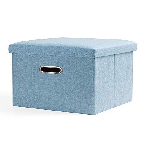 XBCDX Otomano de Almacenamiento Plegable, reposapiés de Cubo Duradero con Asas de Orificio Caja de Juguetes Fuerte Mesa de Centro Taburete Moderno Asiento Azul Cielo 40x25x25cm (16x10x10inch)