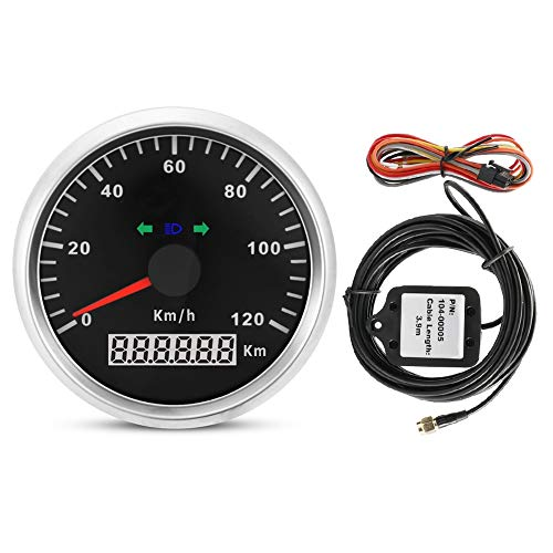 KSTE Velocímetro GPS - 85 mm 120 km/h 12V / 24V Velocímetro GPS for Motocicleta, cuentakilómetros Digital Impermeable IP67 a Prueba de Agua, medidor de medidor for Barco camión