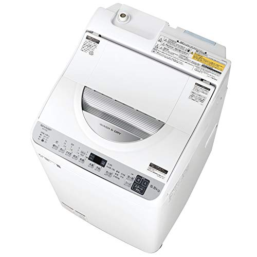 シャープ SHARP タテ型洗濯乾燥機 幅56.5cm(ボディ幅52.0cm) 洗濯・脱水容量 5.5kg ステンレス穴なし槽 シルバー系 ES-TX5E-S