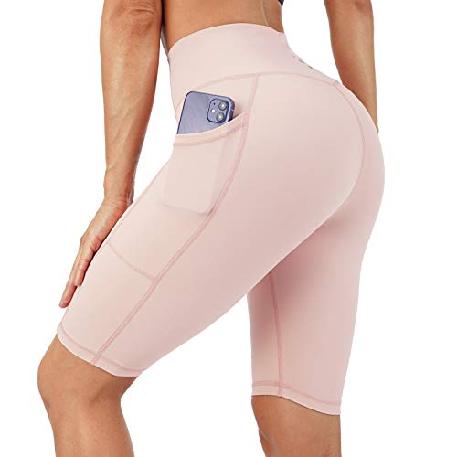 """Costdyne Women's 8"""" /5"""" High Waist Biker Shorts Yoga Workout Tights Running Jogger Compression Exercise Shorts Pink"""
