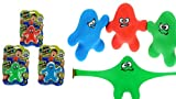 Stretchy Toy Monster Dude Squish and Pull Toys (3 Pack Bulk) by JA-RU | Stress Toys for Kids and Adults, Party Favor - Stretch Toys for Boys and Girls Item #3410-3p