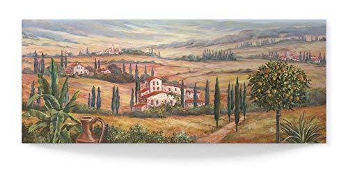 Artland 3D Wandbild aus Alu Bild gebogen Alubild einteilig 100x40 cm Panorama Toskana Natur Landschaft Italien Berge Tal Mediterran T4BP
