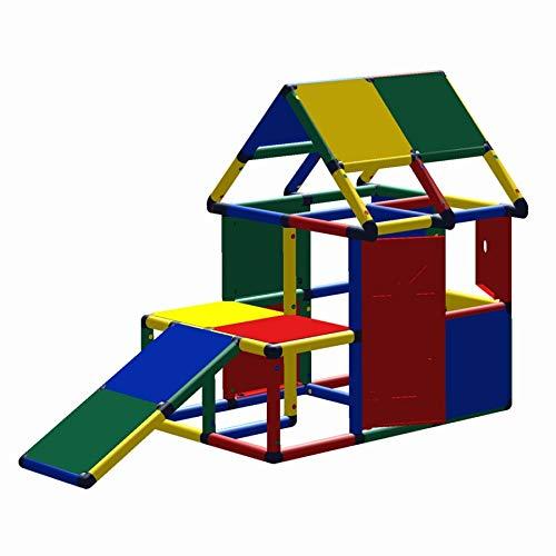 move and stic - Casa de juegos Lennard con tobogán para niños pequeños, multicolor para habitación de los niños, interior y exterior, jardín