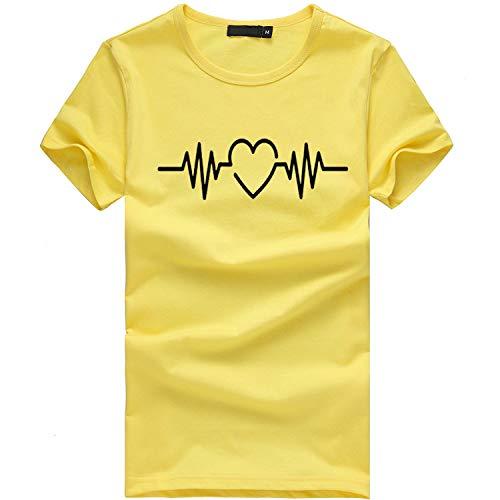Camiseta de Mujer Manga Corta Corazón Impresión Blusa Camisa Cuello Redondo Basica Camiseta Suelto Verano Tops Casual Fiesta T-Shirt Original tee vpass (Blanco4, L)