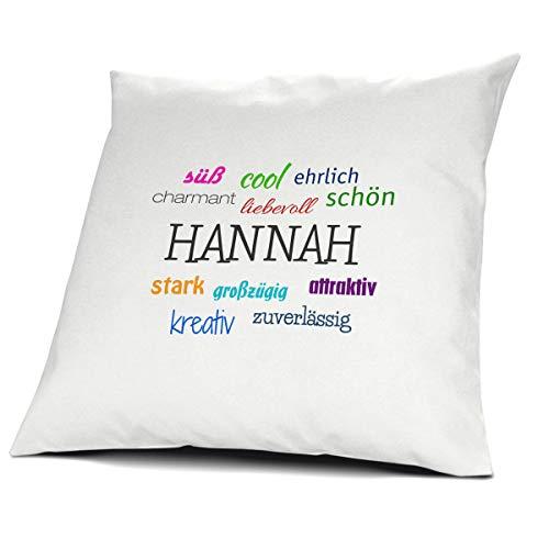 printplanet Kopfkissen mit dem Namen Hannah, Kissen mit Füllung - Positive Eigenschaften, 40 cm, 100% Baumwolle, Kuschelkissen, Liebeskissen, Namenskissen, Geschenkidee