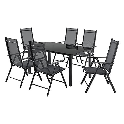 [en.casa] Gartenmöbelset Soria 7-TLG. Loungeset Sitzgruppe Sitzgarnitur Tisch 6 Stühle Verstellbare Rückenlehne Gestell aus Aluminium Tischplatte aus gehärtetem Glas Dunkelgrau