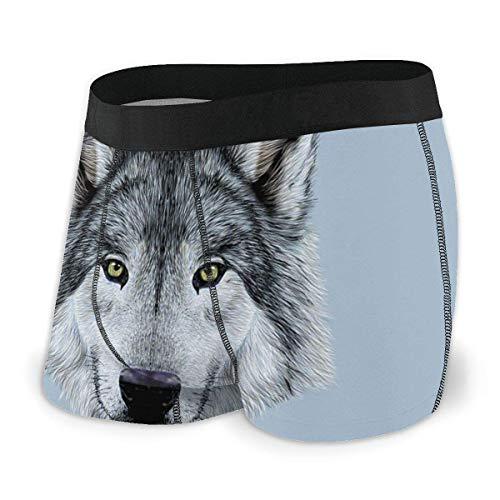 Calzoncillos bóxer para Hombres, Retrato de Lobo con Hermosa Mirada Ilustración Animal Sublime Bestia Canina Talla XL