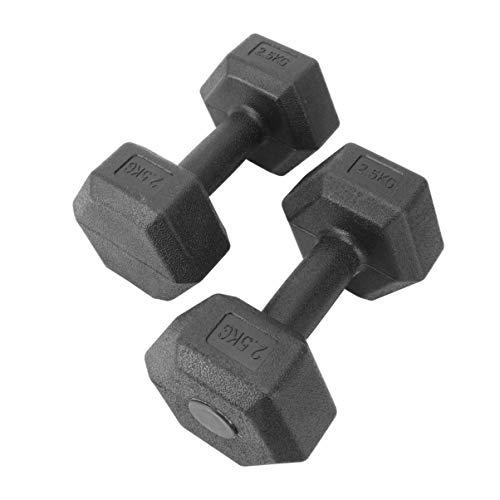 WINOMO Juego de 2 mancuernas hexagonales de hierro fundido de 2,5 kg para aerobic, con superficie de plástico para entrenamiento de fuerza, gimnasia y
