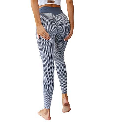 Calça legging feminina de cintura alta emagrecedora para ioga da Farktop, Cinza, M