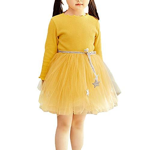 K-youth Vestidos Bebe Niña, Recién Bebé Niñas Tutú Princesa Vestido Pentagram Bautizo Bebé Niñas Vestidos de Manga Larga Otoño Invierno Ropa para 0-24 Meses (Amarillo, 2-3 años)