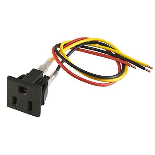 3 Pcs AC 125V US Outlet Panel Mount Power Rewiring Socket Black