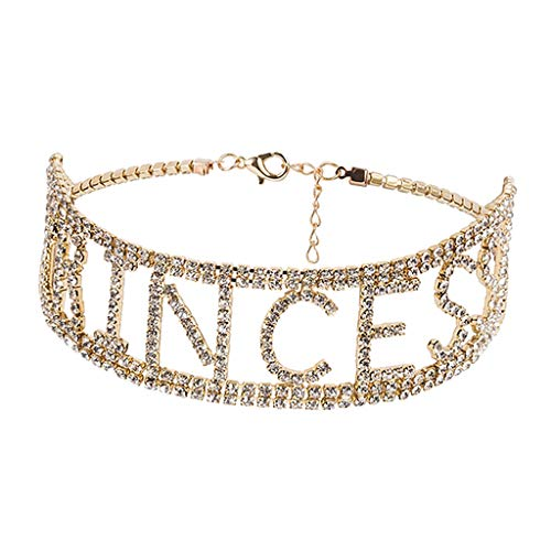 IPOTCH Damen-Choker, Strass Halskette, Einstellbar Kragen Halsband mit Prinzessin Buchstaben für Geburtstag, Weihnachten, Hochzeitstag - golden