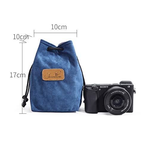 Kamiwwso - Bolsa Protectora con cordón para cámara Nikon Canon, Nikon, Sony, DSLR y SLR, poliéster, Azul, Square-S