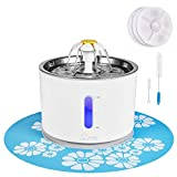 Cat Water Fountain Stainless Steel, 81oz/2.4L Intelligent Pump with LED Indicator for Water Shortage Alert, Pet Fountain with 3 Filters, 1 Mat and 2 Cleaning Brushes, Water Level Window
