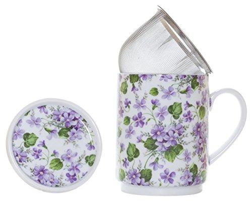 La Cija Violetas Tisana de Porcelana con Filtro de Acero Inoxidable, Blanco, 11x7.9x10.9 cm