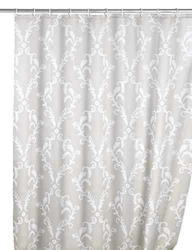 Wenko Anti-Schimmel Duschvorhang Baroque, Textil-Vorhang mit Antischimmel Effekt fürs Badezimmer, waschbar, wasserabweisend, mit Ringen zur Befestigung an der Duschstange, 180 x 200 cm