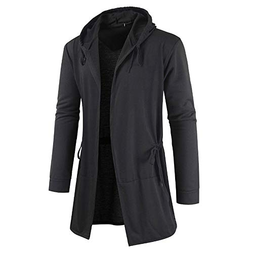 PRJN Fashion Mens Slim Fit Hooded Knit Sweater Fashion Cardigan Long Trench Coat Cotton Jacket Solid Tops Mens Hooded Edge Long Frayed Sleeve Sweatshirt with Hoodie Open Front Cardigan