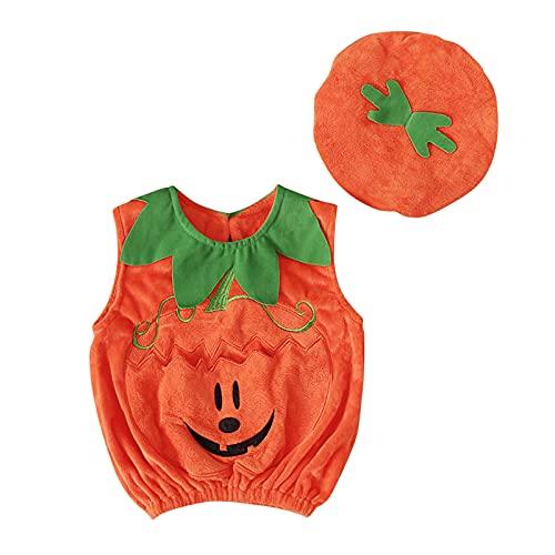 Sanshao Halloween Kürbis Kostüm mit Hut, Halloween Kürbis Kostüm Kinder Mädchen Halloween Baby Faschingskostüme Jungen für Halloween Karneval Fasching Cosplay Orange( Geeignet für unter 4 Jahre alt )