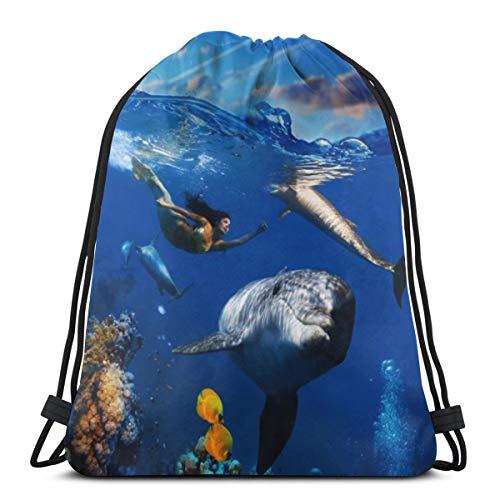 fgjfdjj Colorida Escena de Coral bajo el Agua con Peces Delfines y Hermosa Mochila con Cuerdas, Bolsa de Gimnasio, Mochila Escolar para la Escuela, Viajes, Actividades al Aire Libre